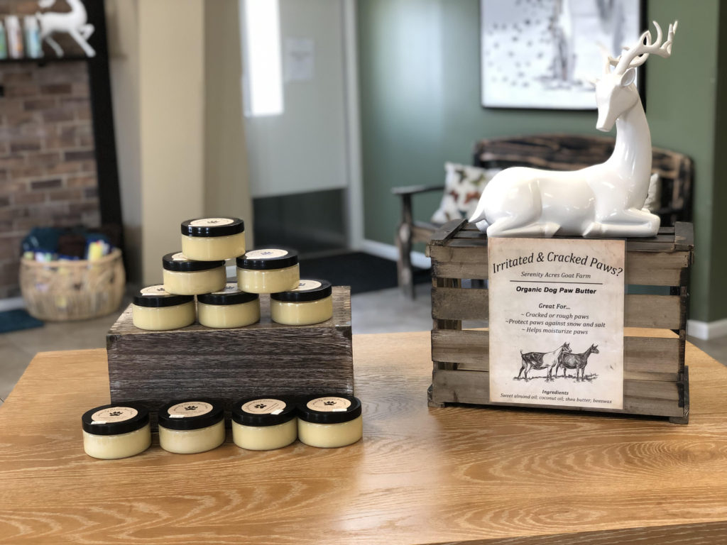 Organic Dog Paw Butter sold at Four Paws Boutique at Paradise Pets in Bloomington